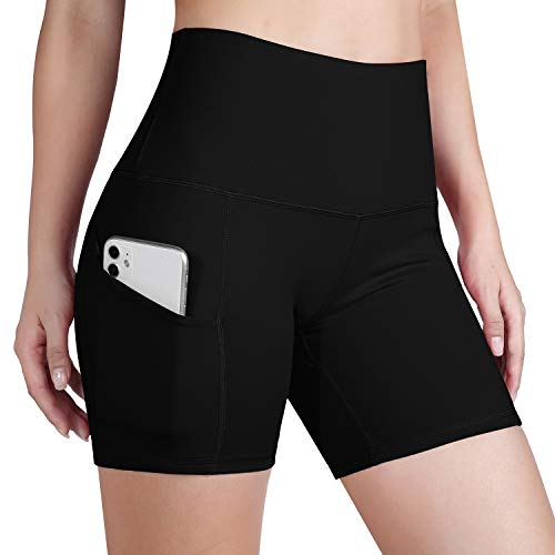 ODODOS Women's Out Pockets High Waisted Workout 5' Shorts, Yoga Athletic Cycling Hiking Sports Shorts,Black,Small