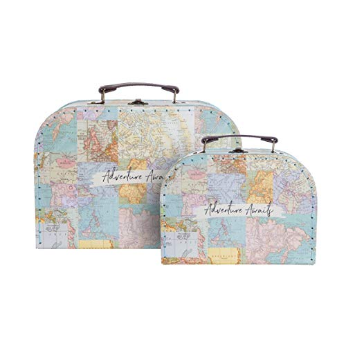 Sass & Belle Vintage Map Collage Suitcases - Set of 2