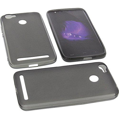 foto-kontor Tasche für HomTom HT50 Gummi TPU Schutz Handytasche grau