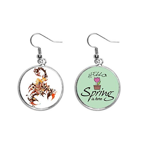 Colorido Escorpión de arte animal, decoración de esquemas, pendientes de primavera