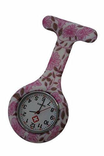 Taschenuhr Rosa Blüten Silikon Krankenschwester Doktor Rettungsassistent Uhr