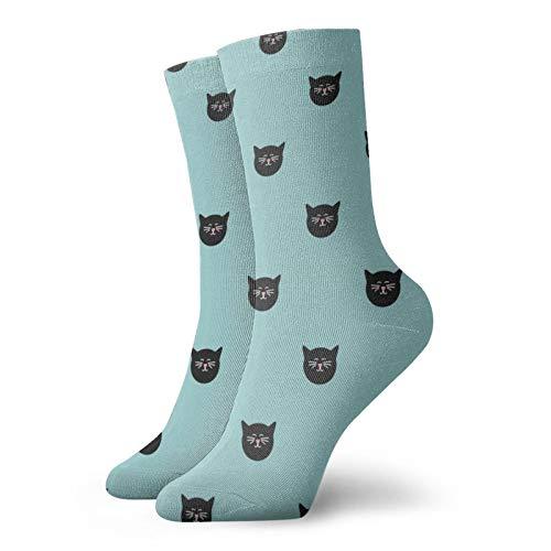 Calcetines de anime patrón de azulejos con gatos sobre fondo verde menta súper suave de secado rápido transpirable calcetines deportivos unisex de la tripulación calcetines de 30 cm