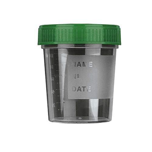20 vasos de orina | 120 ml con tapa de rosca verde | vaso para muestras de orina de muestras de orina multiusos, vasos de plástico | vasos medicinales multiusos