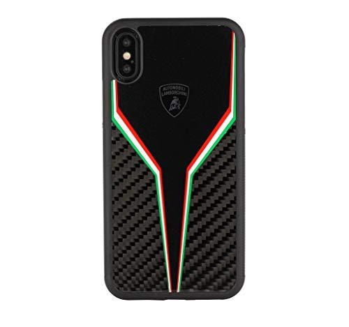 Lamborghini ELEMENTO D2 Carbon Schutzhülle, Back Case Cover Schwarz, geeignet für Apple iPhone XS Max