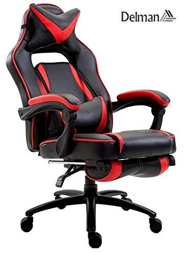 Delman XXL Gaming Stuhl Racing Stuhl Schreibtischstuhl Gaming Chair Drehstuhl Höhenverstellbar mit Fußstütze Fußablage mit Armlehnen Chefsessel Große Sitzfläche Dicke Polsterung 11 cm RS0019RD | Büro > Bürostühle und Sessel  | Delman