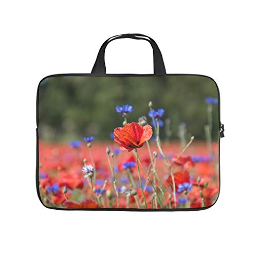 Flowers Blossom Plants Red Poppy Tablet Sleeve Funny Full Printed Laptop Computer Protective Case Cover Dust Proof Neoprene Fabric Laptop Computer Protective Bag for Co-Workers White 10inch