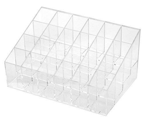 Ogquaton 24 Slots Lippenstifthalter Kosmetische Aufbewahrungsbox Fall Transparent Nagellack Speicherorganisator Makeup Organizer Rack von Proben Langlebig und nützlich