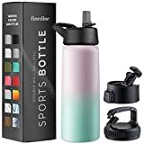 Triple-Insulated Stainless Steel Water Bottle with Straw Lid - Flip-Top Lid - Wide-Mouth Cap (25 Oz) Insulated Water Bottles, Keeps Hot and Cold - Sports Canteen Water Bottle Great for Hiking & Biking