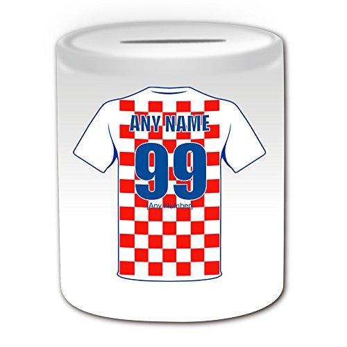 Personalisierbares Geschenk – Kroatien Nationalmannschaft Design Thema, weiß – jeder Name / Nummer auf Ihrem einzigartigen – FC Trikot-Trikot Vatreni die Blazers Peter und Miranda Svaic Kroatian CRO