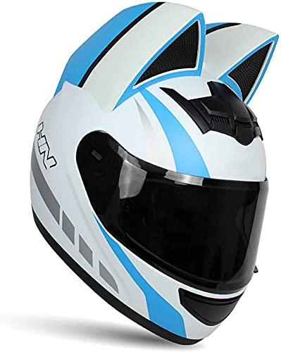 WANGC Casco integral de motocicleta con orejas de gato, diseño creativo personalizado, con visera frontal, para hombres y mujeres, adultos, homologación Ece Dot