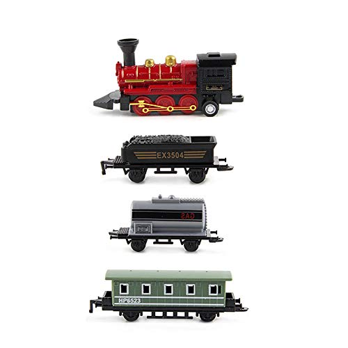 Brave669 Toys for Children Fashion &4Pcs Retro Mini Simulated Steam Train Set Pull Back Model Kids Children Toy, Best Gift for Child