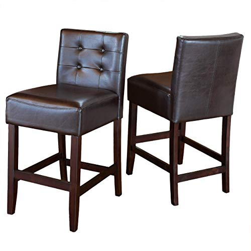 Christopher Knight Home Gregory Brown Leather Back Counter Stools (Set of 2)
