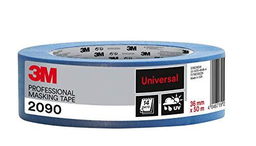 3M 2090 Profi Malerband für glatte Oberflächen, UV-beständig, innen und außen, 36 mm x 50 m