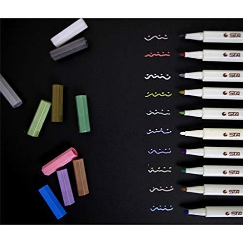 for Office&School Wr 10 PCS kreative Briefpapier Wasser Kreidestift Aquarell Pens Scrapbooking Fotoalbum Metallic Art Marker Pens Gel-Feder-Schule-Büro-Briefpapier, zufällige Farbe Lieferung
