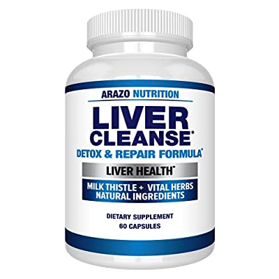 Liver Cleanse Detox & Repair Formula ? 22 Herbs Support Supplement: Milk Thistle Extracts Silymarin, Beet, Artichoke, Dandelion, Chicory Root ? Arazo Nutrition USA
