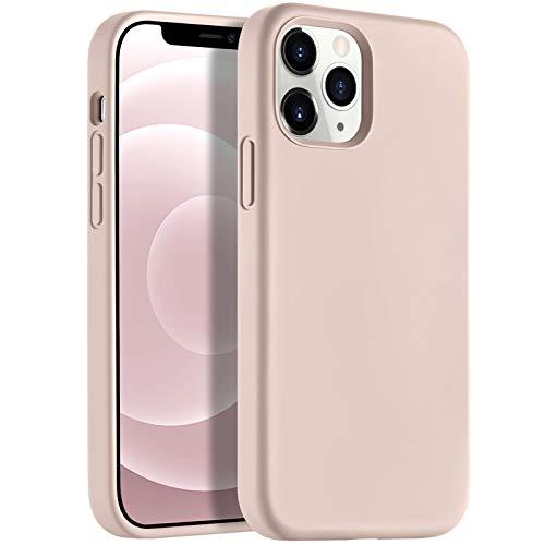 Upeak Compatible con iPhone 12/iPhone 12 Pro 6.1' (2020) Funda, Cover de Silicona para Teléfono con Borde Elevado para Pantalla y Cámara Compatible con iPhone 12/iPhone 12 Pro, Rosa Arena