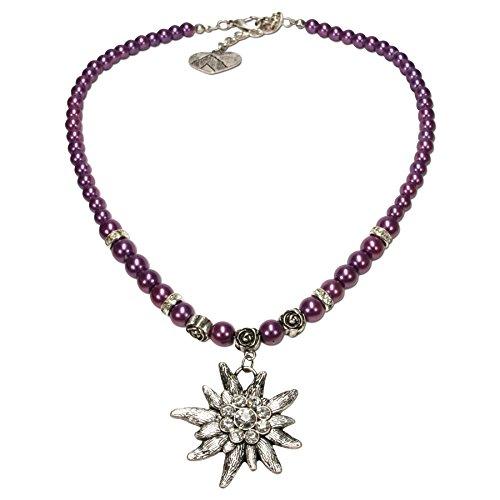 Alpenflüstern Perlen-Trachtenkette Fiona mit Strass-Edelweiß groß - Damen-Trachtenschmuck Dirndlkette lila-violett DHK054
