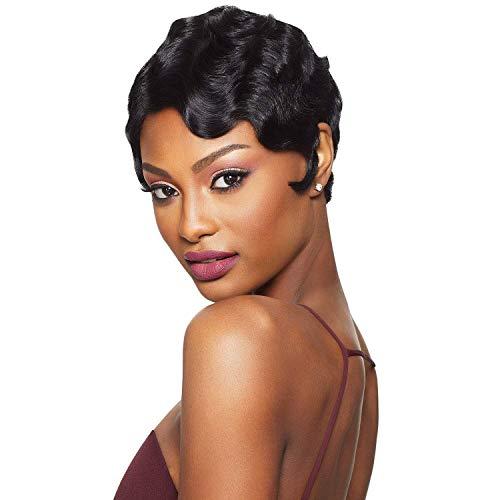 Black Wine 100% Human Hair Finger Wave Wig, Sissi's Fashion Hair Pixie Cut Wig Big Curls Short Remy Hair Wig Water Wave Mommy Wig for Fashion Women (1B)