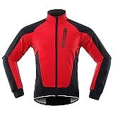 TDHLW Chaqueta de Ciclismo de Invierno Abrigo de Lana Térmica Impermeable para Hombre Chaquetas de Alta Visibilidad Transpirables a Prueba de Viento,Rojo,L