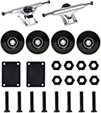 FREEDARE 5' Skateboard Trucks Black, Skateboard Wheels with Bearings 52mm,Skateboard Riser Pads, Skateboard Hardware Set(Silver)