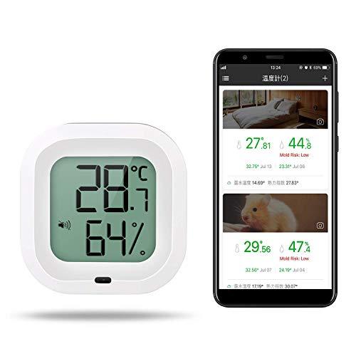 温湿度計 デジタル Bluetooth ワイヤレス 温度計 湿度計 高精度 温湿度レコーダー スマホで温湿度管理 グラフ記録とデータ輸出機能 温湿度異常アラーム機能 日本語専門アプリ対応 強力マグネット付き 健康管理 Zeonetak (白い)