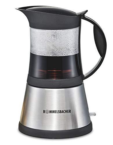 ROMMELSBACHER Espresso Kocher EKO 376/G - hitzebeständige Glaskanne, Filtereinsatz für 3 oder 6 Tassen Espresso, verdecktes Heizelement, 360° Zentralsockel, automatische Abschaltung, 365 W, Edelstahl