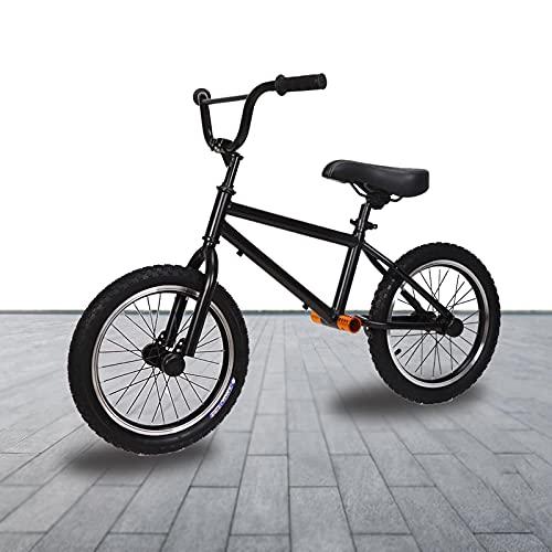 Bicicleta Sin Pedales Equilibrio Grande Chicos Chico Bicicleta de Equilibrio de 16 Pulgadas con Frenos, Grande Sin Pedal Estructura de Acero Portátil Bicicleta de Entrenamiento, para La Altura de Los
