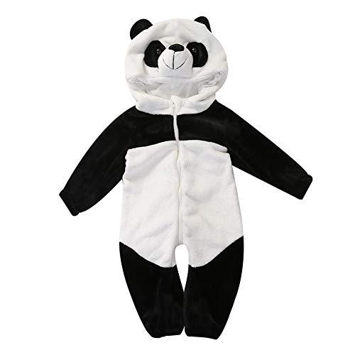 jsadfojas Jungen Mädchen Tier Langarm Baumwolle Strampler Overalls Bodys Footies Spielanzug Panda Einteilige Hut Kleidung (Panda, 6-12m)