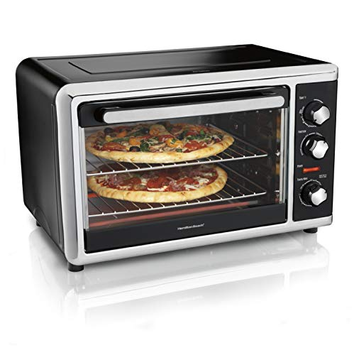 Hamilton Beach Countertop Convection Oven with Rotisserie, Bake Pans & Broiler Rack, Extra-Large Capacity, Black (31105D)