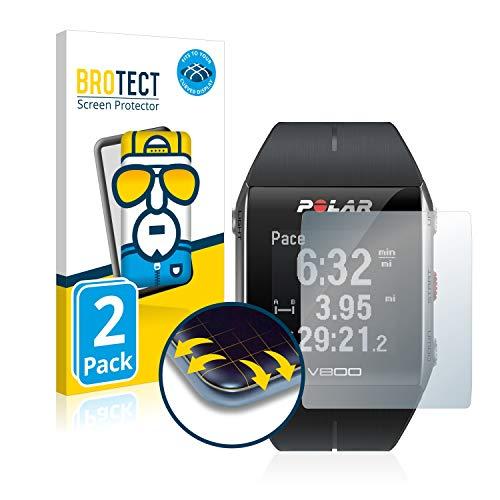 BROTECT Full-Cover Schutzfolie kompatibel mit Polar V800 (2 Stück) - Full-Screen Bildschirmschutz-Folie, 3D Curved, Kristall-Klar