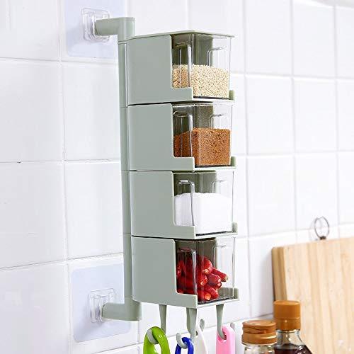 SMEJS Küche Aufbewahrungsbox Gewürzbox Flasche Flasche Wandbehang Gewürzregal drehbare Zuckersalz Gewürzbehälter Küche Werkzeuge