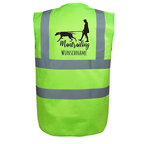 Mantrailing Hundesport Warnweste Sicherheitsweste mit Namen oder Text personalisiert (Motiv 7) (S, Grün)