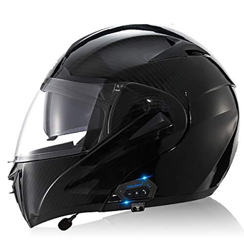 Modulare Bluetooth Integrato Bluetooth Casco da Corsa Integrale per Casco da Moto, Auricolare Bluetooth A Doppio Altoparlante con Microfono Risposta Automatica Nessun Rumore A