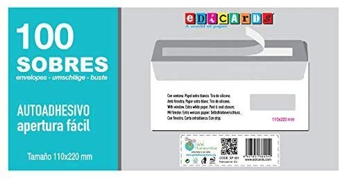 Buste formato 110x 220mm con finestra marchio edicards. Confezione da 100pezzi.