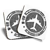Great Coasters (juego de 2) cuadrado BW – Banderas de viajero del mundo icono de viaje/posavasos de calidad brillante / protección de mesa para cualquier tipo de mesa #39878