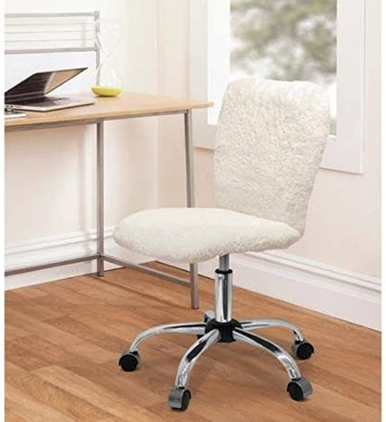 Urban Shop Faux Fur Task Chair Durable And Comfortable Stylish White Sherpa Perfect For Bedroom Or Dorm Room Use