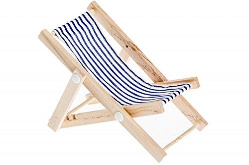 NaDeco Mini Deko Liegestuhl blau-weißer Stoffsitz, ca. 15x6,5cm Strandstuhl Handyhalter Puppenliegestuhl Miniliegestuhl Klappstuhl
