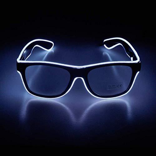 KingCorey Leuchten Sie EL Wire Neon Rave Brille Glow Flashing LED Sonnenbrille Kostüme für Party, EDM, Halloween (Weiß)