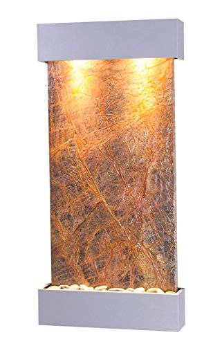 Whispering Creek Water Feature with Silver Metallic Trim and Square Edges (Brown Marble)