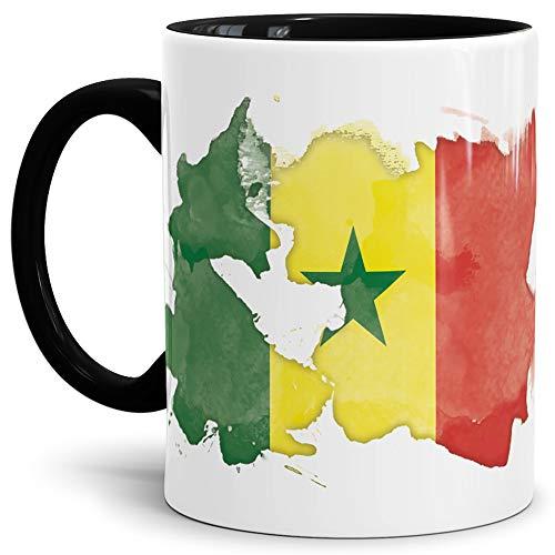 Tassendruck Flaggen-Tasse Senegal Innen und Henkel Schwarz - Fahne/Länderfarbe/Wasserfarbe/Aquarell/Cup/Tor/Qualität Made in Germany