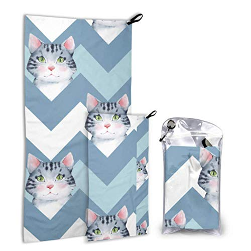 LICTshop Pretty Cute Clever Animal Pet Cat 2 Pack Microfiber Shower Towel Camping Outdoor Sport Towel Set Fast Drying Best for Gym Travel Backpacking Yoga Fitnes