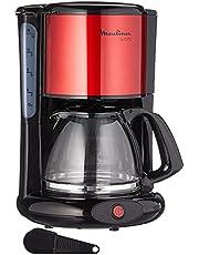 Moulinex FG360D Subito Filterkoffiezetapparaat, glazen kan, 10-15 kopjes, automatische uitschakelfunctie, roestvrij staal, rood/zwart