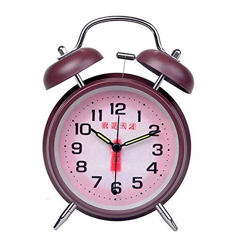 Mzbbn Wecker Lauter Wecker, Student am Bett, leiser, leuchtender Wecker-4 Zoll-Ich Bin EIN Genie (Mokka-Braun) analoge wecker mit lautem Alarm