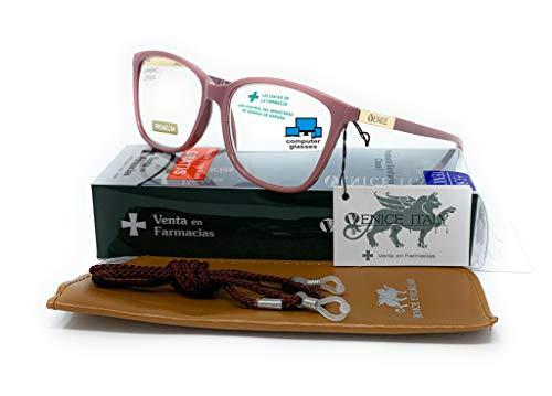 New model 2021 Gafas de lectura con filtro bloqueo de luz azul para gaming, ordenador, móvil. Anti fatiga, presbicia, vista cansada, Diseño en Colores. VENICE Smart - Dioptrías: 1 a 3,5 (Lila, 1,00)
