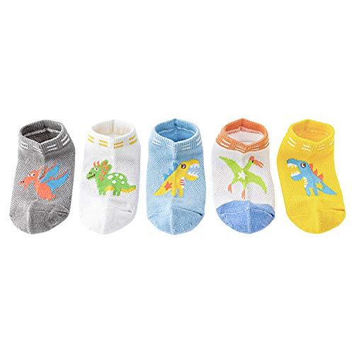 XPXGMT 5 pares de calcetines de malla de animales de dibujos animados para niños de algodón de 1 a 8 años