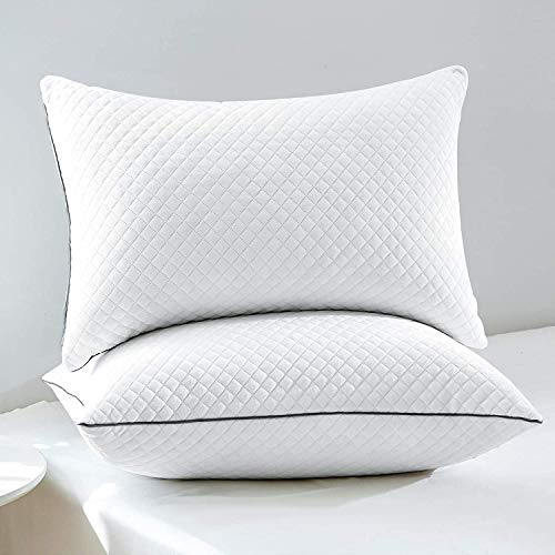 """GOHOME Bed Pillows for Sleeping 2 Pack, Standard Pillows with Luxury Velvet Fabric, Full Size Down Alternative Hyperallergenic Pillows for Side and Back Sleepers, 20""""x26"""""""