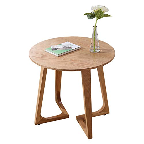 ZHUSHI Moderne Einfache Couchtische Full Massivholz Runder Tisch Reine Eiche Balkon Bewegliche Terrasse Kleiner Schreibtisch Kreativ (Size : 70x70x45cm)