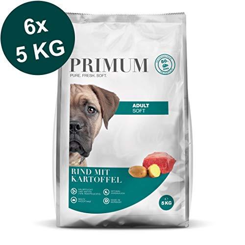 Primum | 30 kg | Halbfeuchtes Trockenfutter für Hunde | getreidefrei | Soft Rind mit Kartoffel | Extra viel Fleisch | Optimal verdaulich | Herstellung in Deutschland