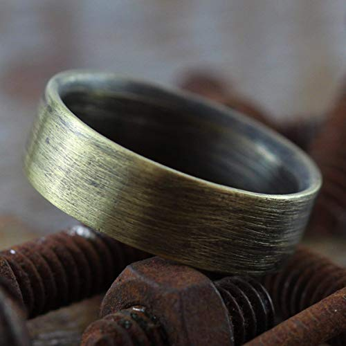Carpe Diem Jewellery Unique Wedding Band Mens Wedding Band Ring Rustic Antique Oxidized Brass Custom Engraved Men's Wedding Band Men Wedding Band Personalized Ring Gold Wedding Band Mens Wedding Ring