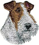 VirVenture 2 1/8' x2 1/2' Wired Black White Fox Terrier Portrait Dog Breed Embroidery Patch Great for Hats, Backpacks, and Jackets.